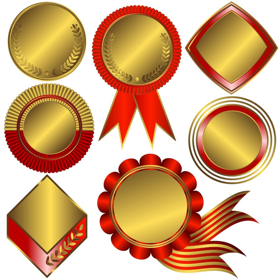 金色に輝くメダル デザイン テンプレート Medal certificate badge gold イラスト素材2