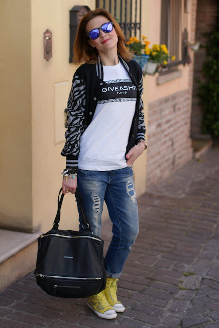 Varsity jacket, Giveashit tee, Givenchy Pandora bag, Fashion and Cookies