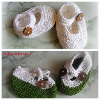 Knitting Baby Booties, Rajut Merajut, Poyeng Hobby