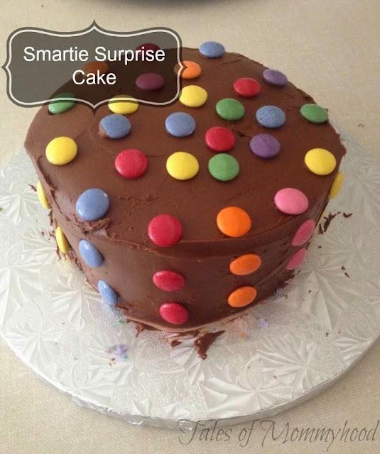 smartie cake, tie dye cake, surprise, smartie surprise, smarties inside cake