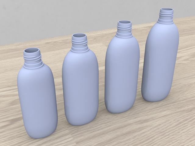 プラスチック容器 「楕円型ボトル」 - Plastic container 3D objects