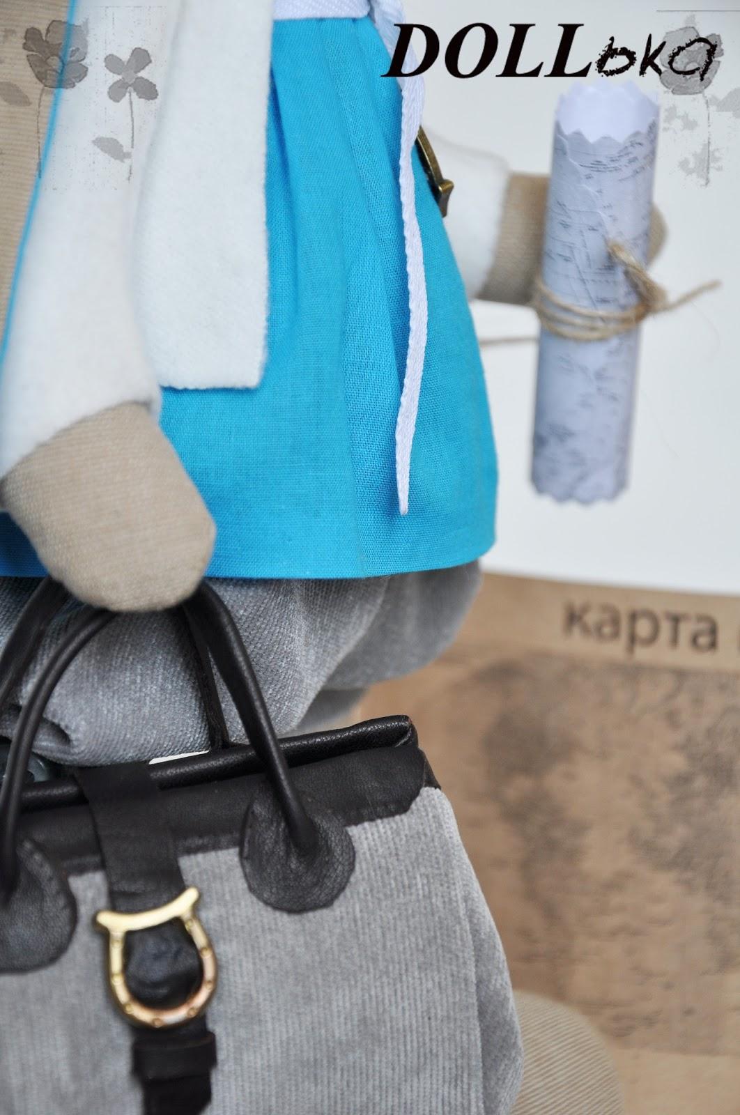 зайка путешественница игрушка текстильная ручной работы