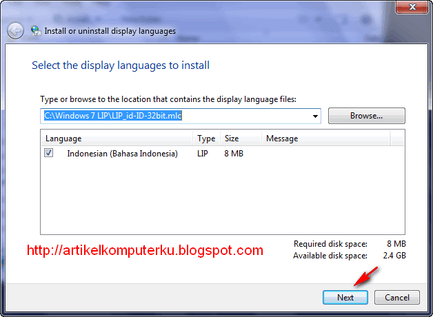 install Windows 7 Language Interface Pack Bahasa Indonesia