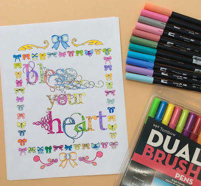 Adult coloring page quote Bless your heart, stefanie girard, tombow markers, pens, art