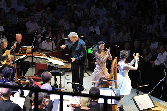 Monterverdi L'Orfeo at the Proms, Sir John Eliot Gardiner, Mariana Flores, Francesca Aspromonte - photo credit BBC/Chris Christodoulou