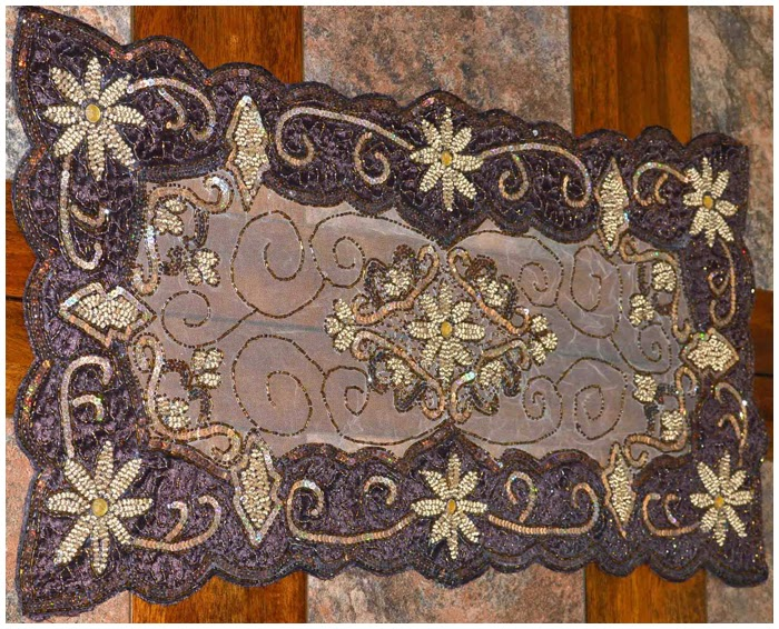This Brown Beaded Table Runner Will Add Dazzle , Beauty , Entertainment And  Special Meaning To Your Table . This Table Runner Was Handmade With Love !