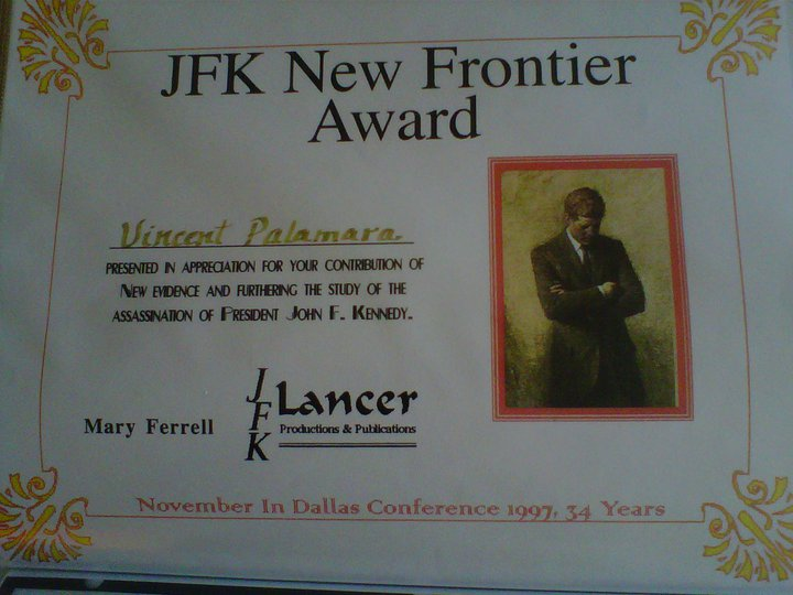 My November 1997 JFK Lancer New Frontier award (I did a presentation on 11/22/97 in Dallas, TX