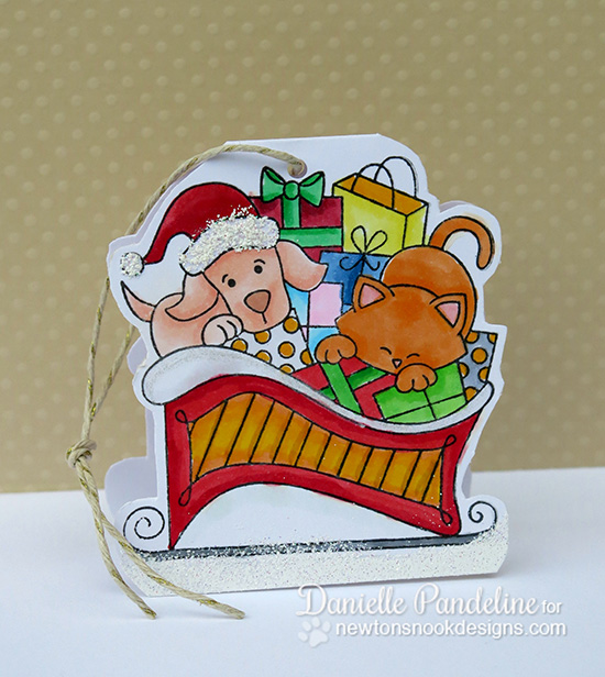 Cat and Dog in Sleigh Christmas Card by Danielle Pandeline for Newton's Nook Designs - Christmas Delivery Stamp Set