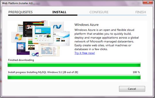Installation Microsoft Platform Installer 4.0
