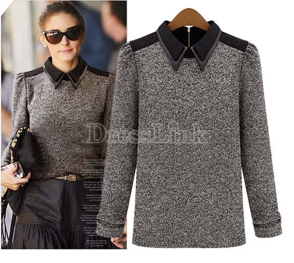 Celebrity Style Long Sleeve Fitted Knitted Blouse Cotton Shirt