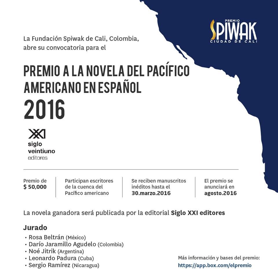 Bases Premio SPIWAK Ciudad de Cali a la novela del Pacífico americano en español