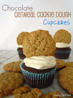 chocolate cupcakes with frosting and oatmeal cookie on top