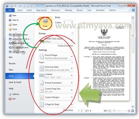 Gambar: Contoh print dan print preview di microsoft word 2010