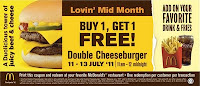 McDonald's Coupon: Double Cheeseburger Buy 1 Free 1