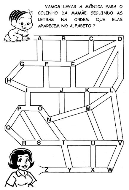 Desenhos Preto e Branco labirintos da turma da monica e outros Colorir