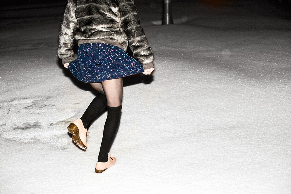 miista shoes in the snow, good old vintage dress