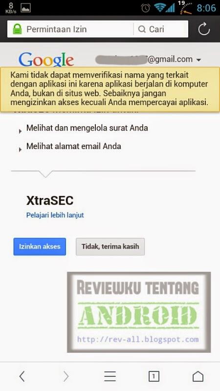 Konfirmasi penggunaa email - Tutorial pengaturan pertama XtraSEC oleh rev-all.blogspot.com