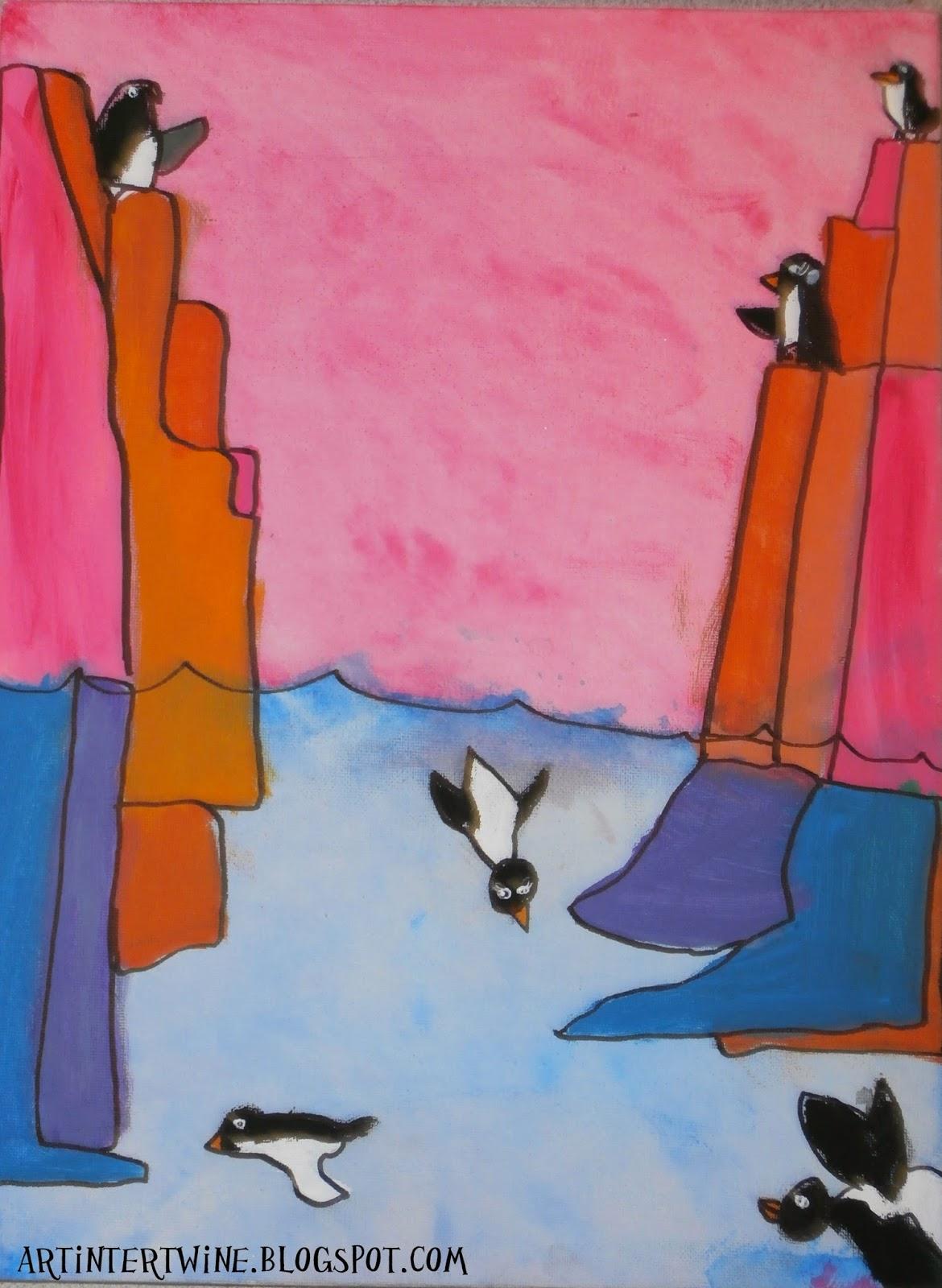Andrew Holder Inspired Penguin Art For Kids
