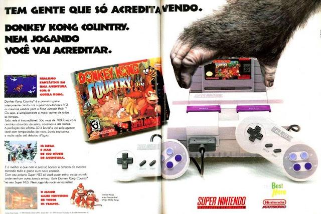 Propaganda de 1994 onde apresentava o jogo Donkey Kong Country para o Super Nintendo.