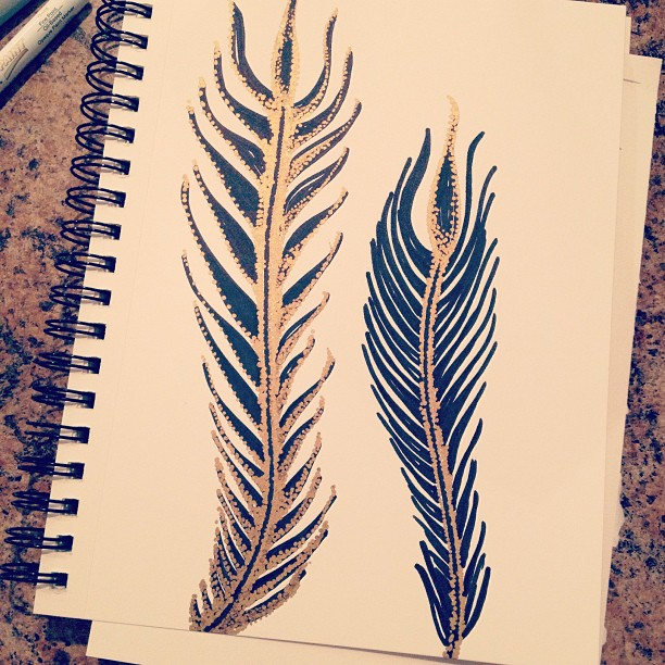 doodles, drawing, feathers