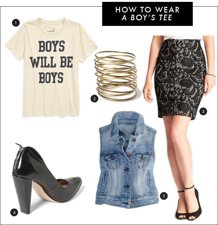nordstrom, boy's tee, lace skirt, ann taylor, denim vest