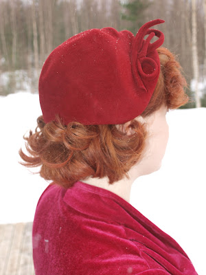 50's vintage hat, velvet dress