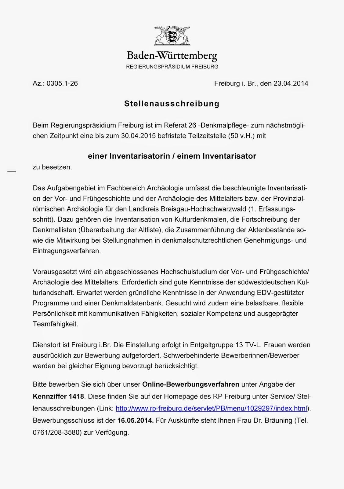 Förderverein Bamberger Denkmalpfleger e.V.: Stellenausschreibung 6