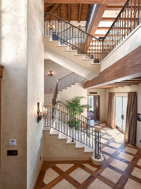 Stone stairs in Mediterranean style vineyards home in Malibu