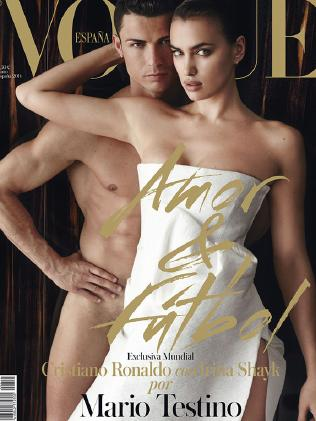 Five years together ... Cristiano Ronaldo and Irina Shakk on the cover of Vogue.Source:Supplied