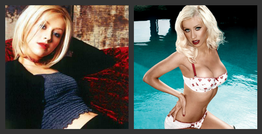 Christina aguilera have breast implants