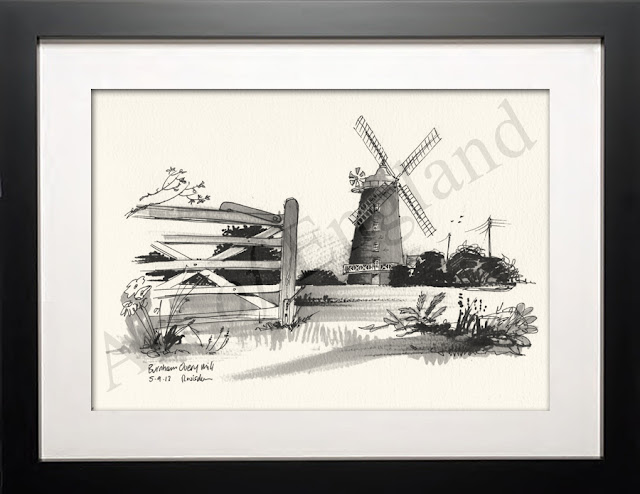 Windmill norfolk illustration