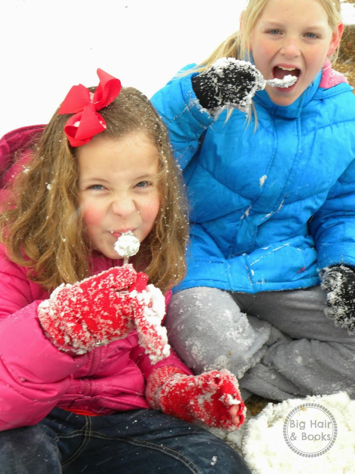 Tasting our snow ice cream!