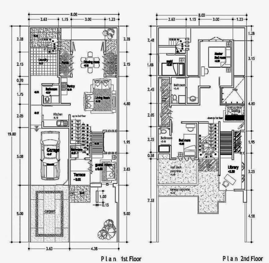 Denah Rumah Minimalis Modern 2 Lantai 2014 2015   Denah Rumah