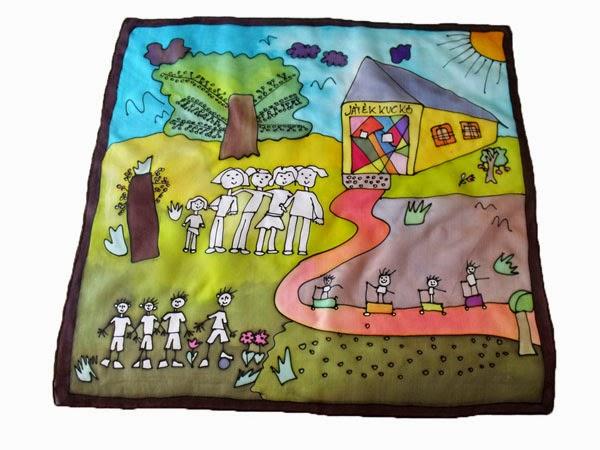 Gyerekrajzos selyemkendők - ballagási ajándék tanároknak, óvónőknek