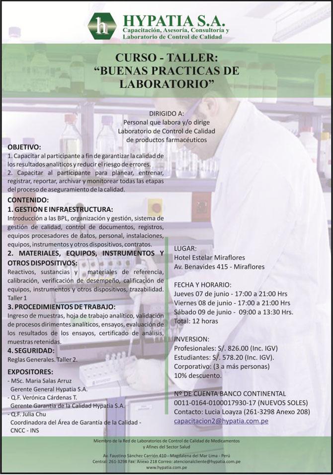 Curso taller BUENAS PRACTICAS DE LABORATORIO OMS