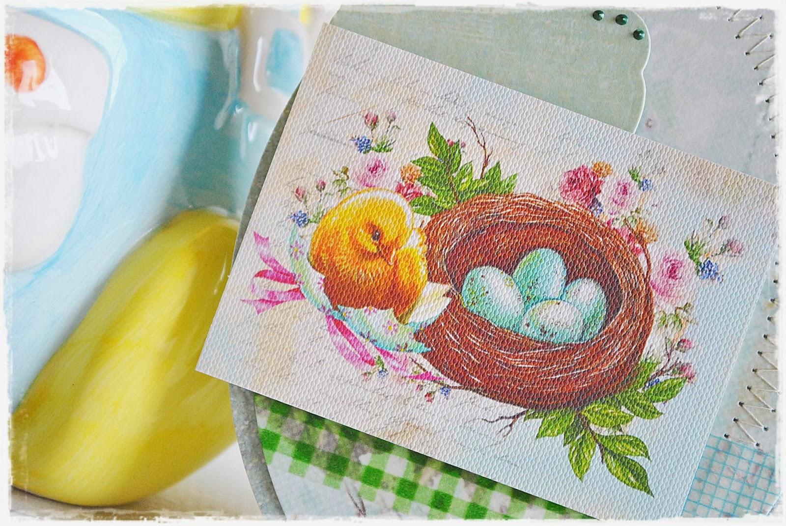 kartka wielkanocna w kształcie jaja scrapbooking