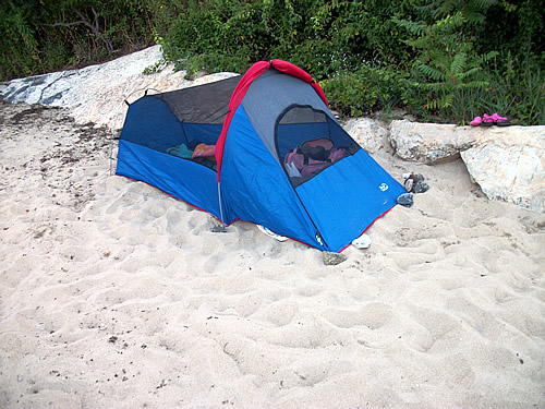 Camping on the beach in a Bivy Tent