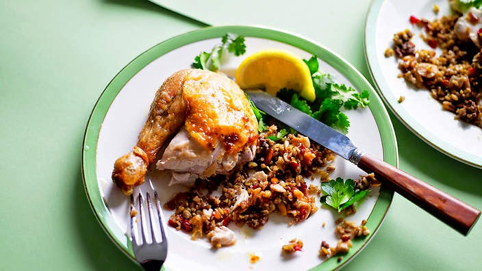 Roast Chicken With Freekeh Stuffing Recipe