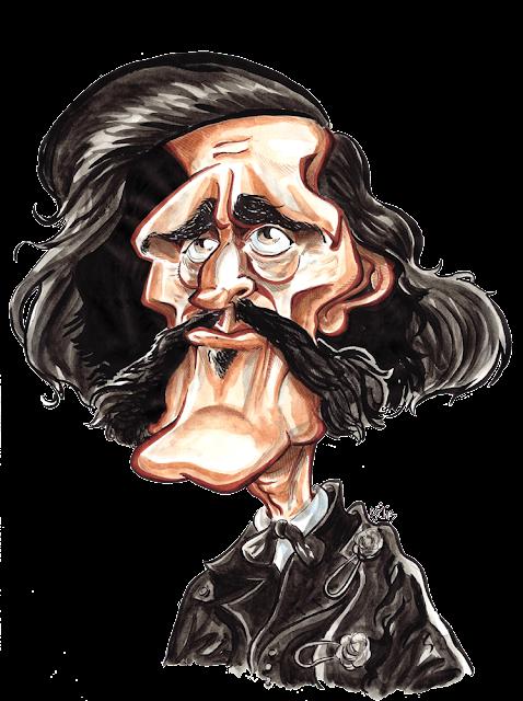 Caricature de Jules Barbey d'Aurevilly - aquarelle par Guillaume Néel