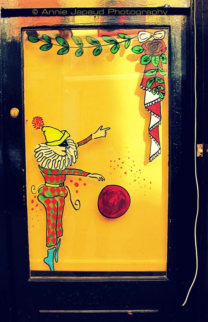 drawings on a door in Galway city