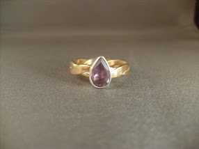 Faceted Amethyst in Sterling Silver with Gold Filled Band