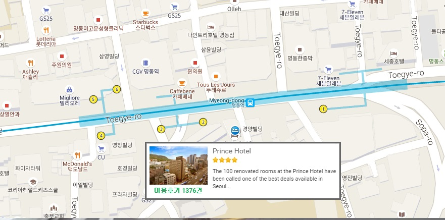 Click To Enlarge Location Map Of Prince Hotel Near Exit 2 Myeongdong Subway Station Where You Can Take Bus Alpensia Resort