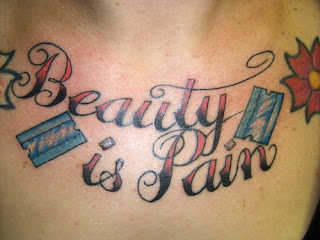 Beauty is Pain Chest Tattoo Razor Tattoo