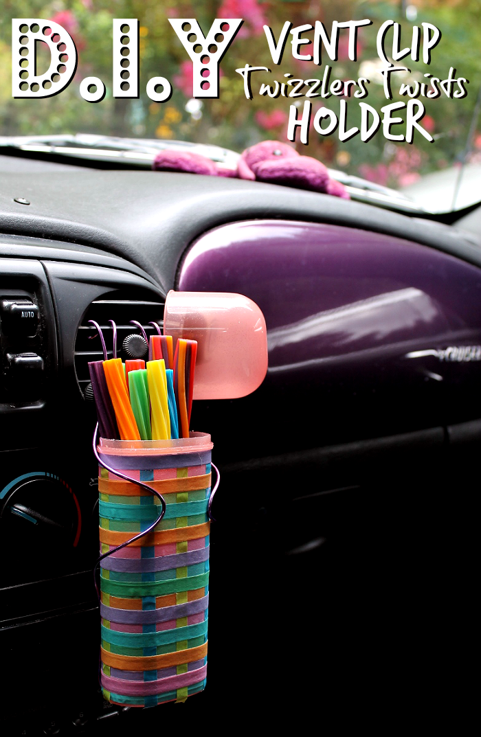 Make this DIY car vent clip snack holder and stock it full of non melting, low fat snacks- lke Twizzlers Twists from Walmart. It's the perfect Summer Road Trip Essential! #ad