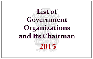 List of Important Government Organizations and Its Present Chairman- 2015