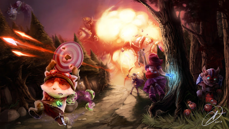 league of legends clash teemo running, ashe, annie, ziggs and baron game