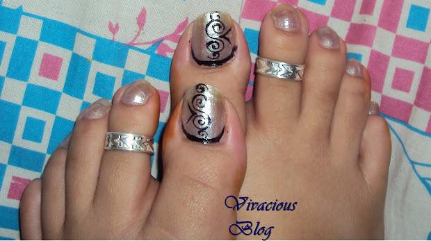 vivacious toe nail art