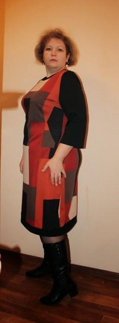 платье из джерси для полных яркого цвета