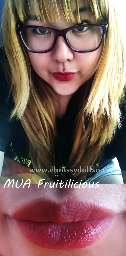 MUA Kiss Proof Lip Stain in Fruitilicious swatches