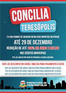 """""""Concilia Teresópolis': anistia para impostos em atraso"""